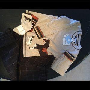 NWT Janie/Jack sz 3 boy shirt/socks. Like new pant